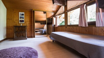 This double room with 2 extra single beds.